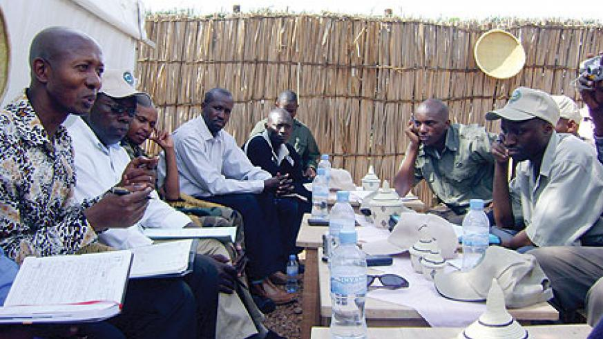 Minister Harerimana talking to local officials in Bugesera.(Photo/ S. Rewembeho)