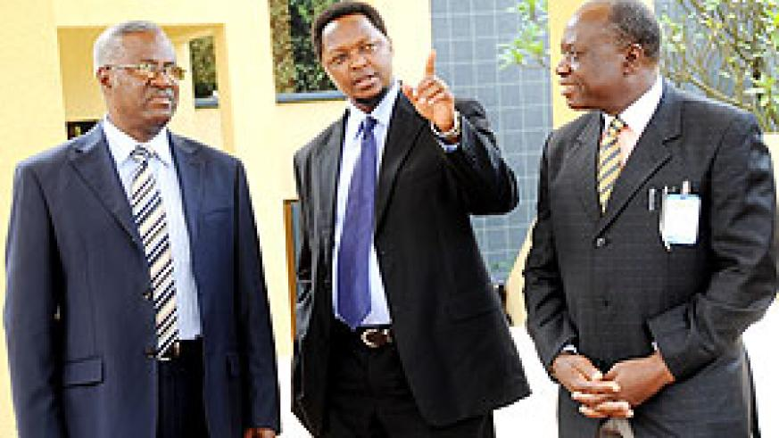 The Minister of Defence Gen. Marcel Gatsinzi with EAC Deputy Sec. Gen. Jean Claude Nsengiyumva and Maj. Gen. Dr. S. Salim of the General Military Hospital of Tanzania at the meeting of EAC Armed forces on HIV. (Photo J. Mbanda)
