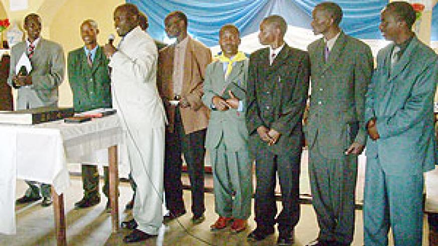 Pastors of the Seventh Day Adventist Church during the ceremony to receive the Bible. (Photo: J.P Bucyensenge)