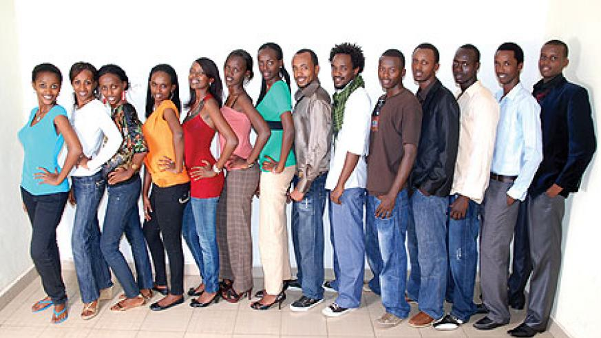 Ndayishimiye's models pose for a photo shot.