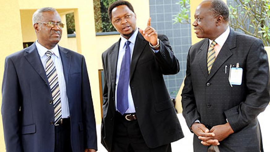 Defence Minister Gen. Marcel Gatsinzi,EAC Deputy Secretary General Jean Claude Nsengiyumva and Maj.Gen.Dr. SSalim from   Tanzania at a meeting of EAC Armed forces on HIV.