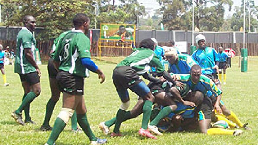 Silverbacks in action during one of last year's regional tournaments. The string side is chasing for honours in today's Nile Special 7-aside tourney. (File photo)