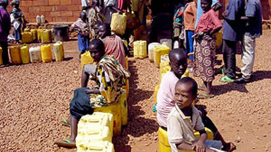 People in line for that precious water