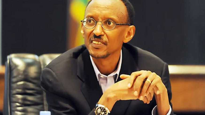 President Kagame at the press conference yesterday (Photo Urugwiro Village)