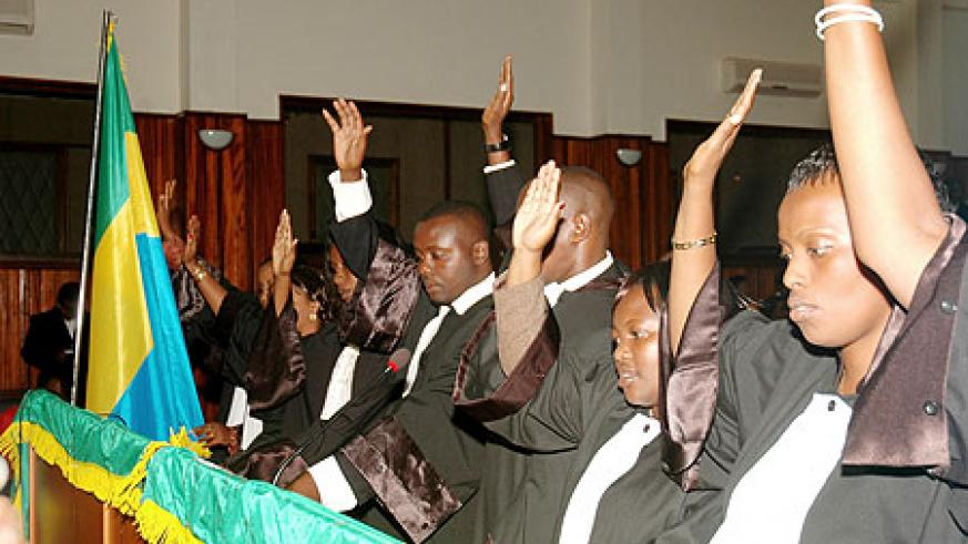 Some of the lawyers being sworn-in yesterday at the Supreme Court. (Photo / F. Goodman)