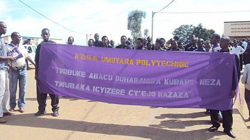 Genocide survivors and other students from Umutara Polytechnic leading other residents in a match to commemorate the sixteenth anniversary of the genocide.