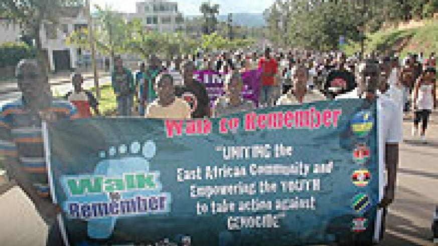 Youths took to the streets yesterday to denounce Genocide and its ideology (Photo J Mbanda)