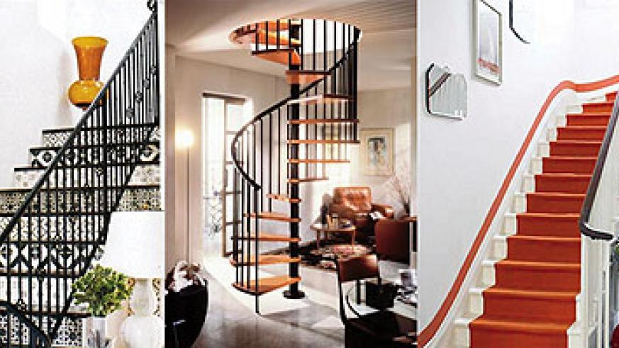 L-R : Paint coordinating motifs or colors on the risers to transform your staircase ; Metal spiral rails with wooden stairs are wonderful for creating an elegant look ; Paint a runner directly only the staircase for a customized look