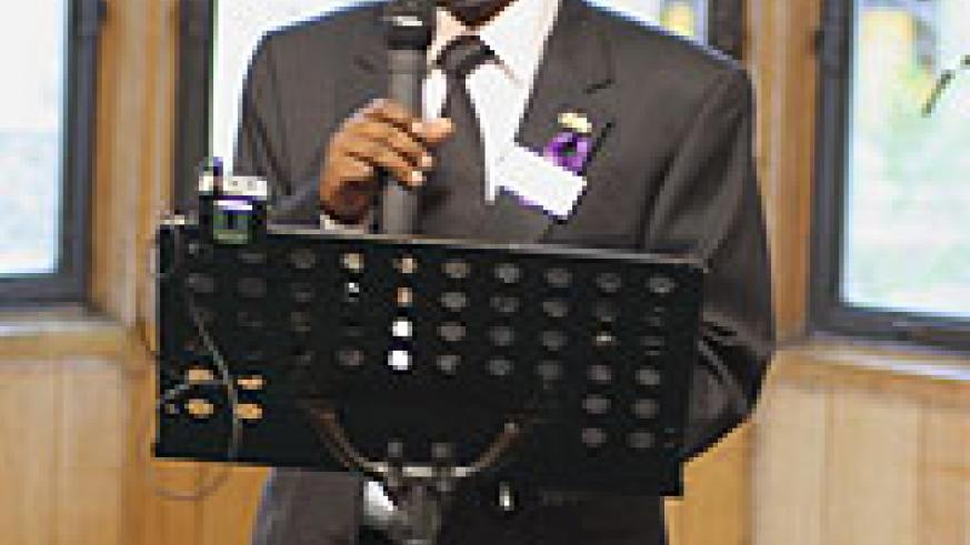 High Commissioner to UK Ernest Rwamucyo delivering his speech at the commemoration. (Photo/ Patrice Gateja)