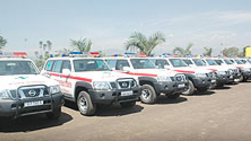 A fleet of the newly acquired ambulances by the Ministry of Health. The ministry intends to use ICT in monitoring these trucks' whereabouts countrywide (File Photo)