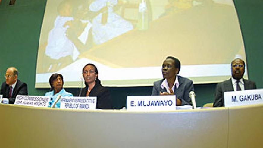 The Panel of speakers at the 16th Commemoration ceremony at the UN Geneva . 2nd from left is Navanethem Pillay with Amb. Venancie Sebudandi (Courtsey Photo)