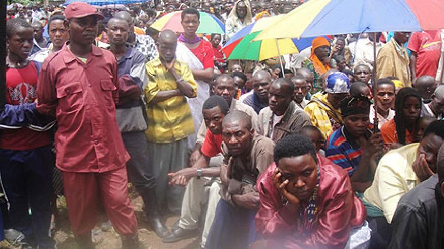 Some of the mourners during the 16th genocide commemoration week held in Nyanza district. (Photo / D. Sabiiti)
