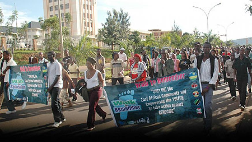 """Youth take to the road  during """"Walk to remember"""" on April 7th."""