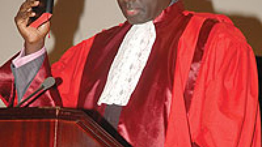 Johnston Busingye takes an oath after being named EACJ Principle Judge in 2008. (File Photo)