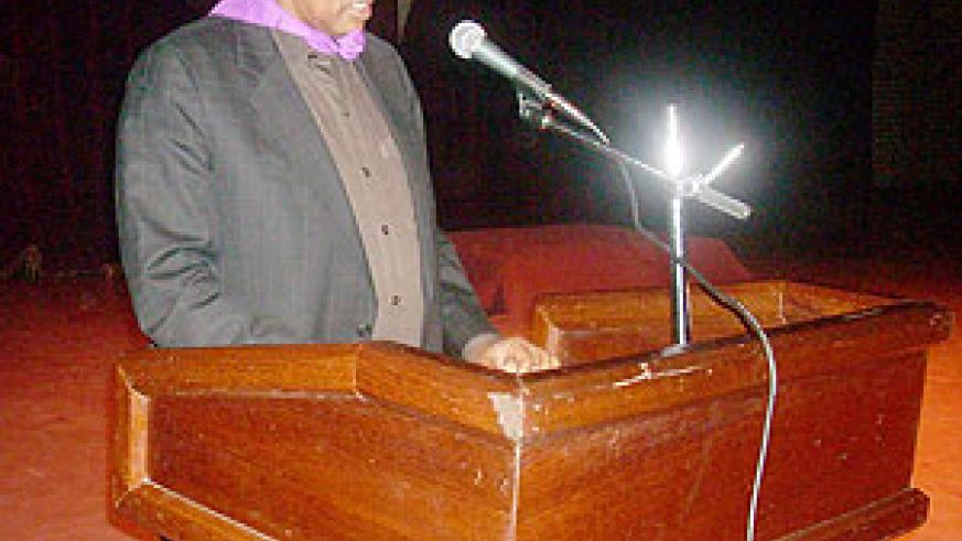 NUR Rector Prof Silas Lwakabamnba speaking at the opening of the commemoration week at the NUR. (Photo: J.C Gakwaya)