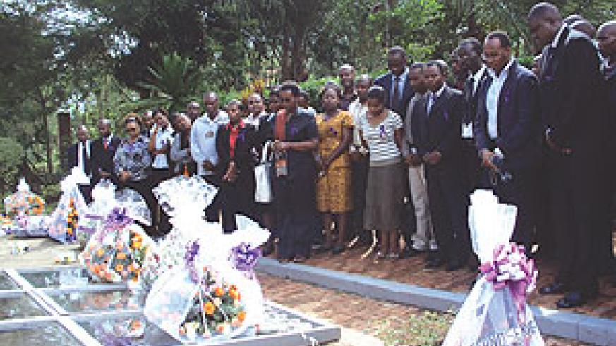 Serena staff paying respect to the victims of the 1994 genocide against the Tutsi at the Kigali Genocide Memorial Centre. (Photo; Irene V. Nambi)