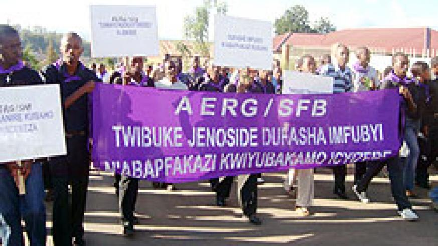 SFB students in Walk to Remember yesterday as part of the commemoration of the 1994 Genocide against the Tutsi (Photo: I. Niyonshuti)