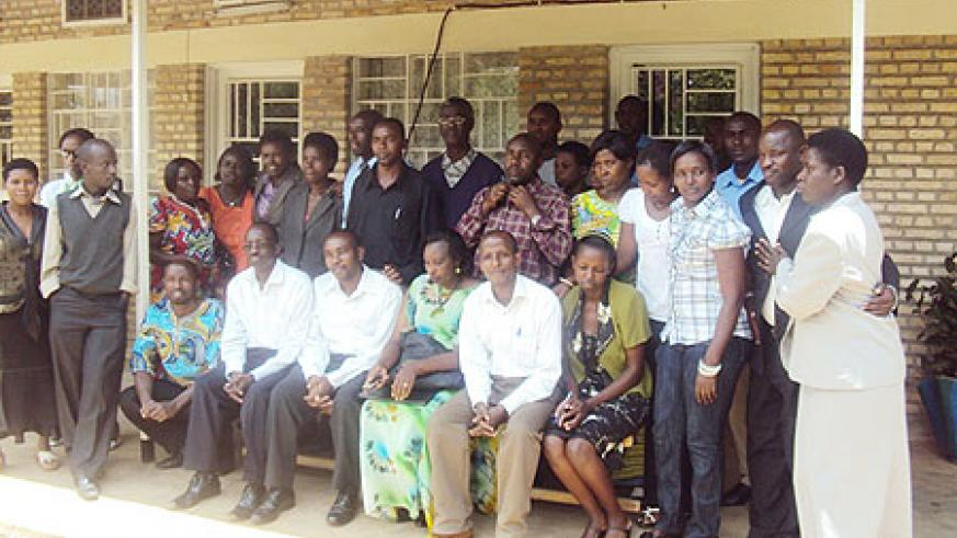 A group of trained teachers pose for photograph. (Photo: D. Sabiiti)