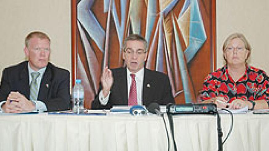 Canada's High Commissioner to Rwanda, Ross Hynes (C) addressing the press conference yesterday (Photo; F. Goodman)