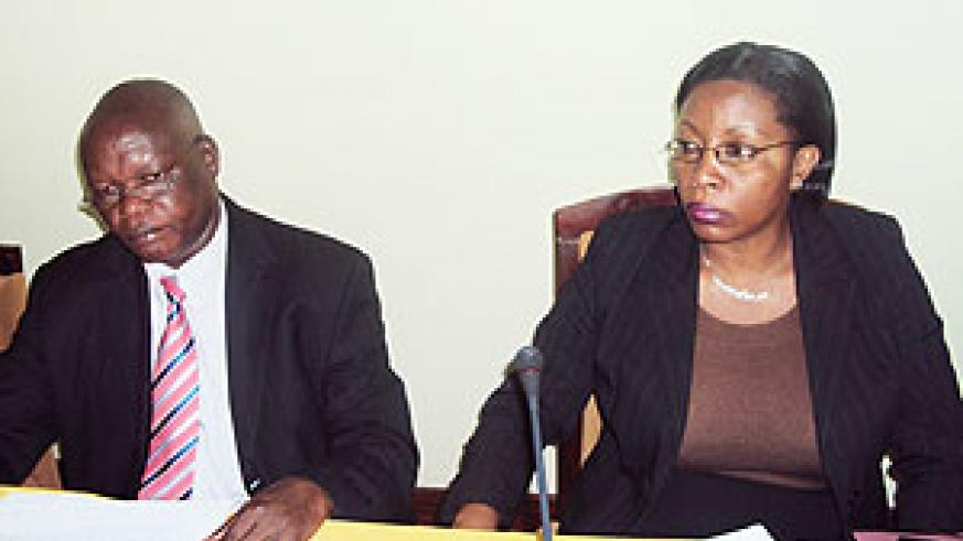 The State Minister for Local government, Christine Nyatanyi and the Executive Secretary of CEPGEL Amb. Gabriel Toyi during the meeting yesterday (Photo; R. Mugabe)