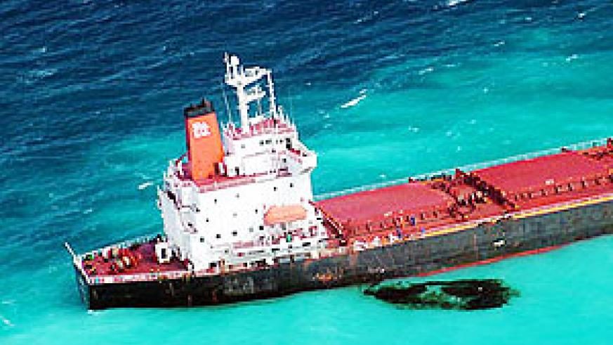 The Chinese-registered coal tanker Shen Neng 1, aground on a reef east of Great Keppel Island, Australia, on April 4, 2010
