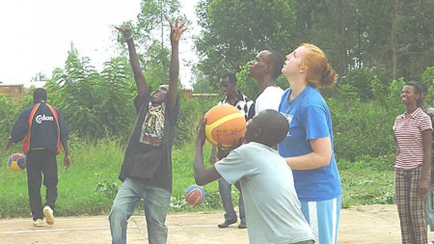 Kelly playing with some of the street children