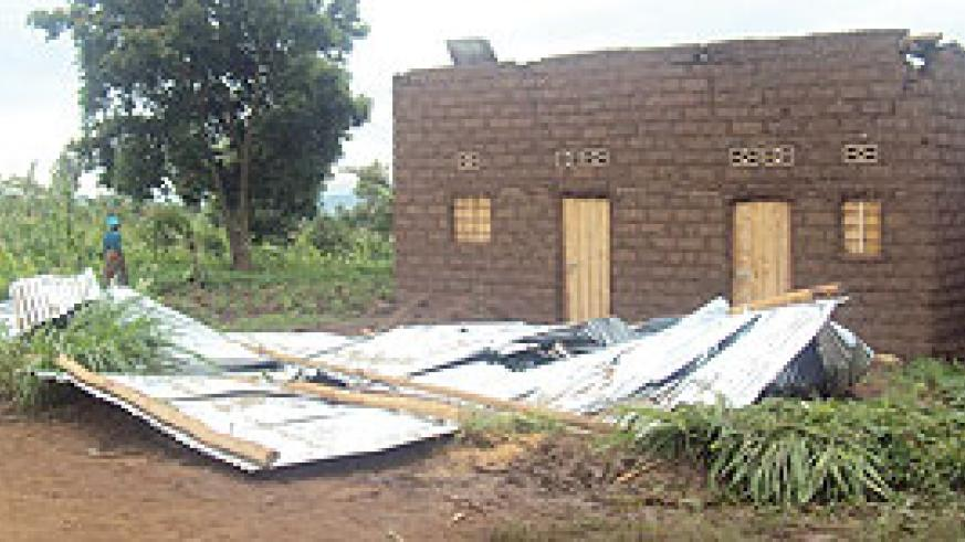 One of the  houses  that was destroyed by heavy rains in Kabarore sector in Gatsibo district. (Photo / D. Ngabonziza)