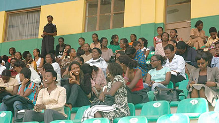 A cross section of some of the motorists who turned up for yesterday's examination (Photo; F. Goodman)