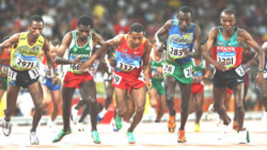 Dieudonne Disi (2nd right) at the Beijing Olympics