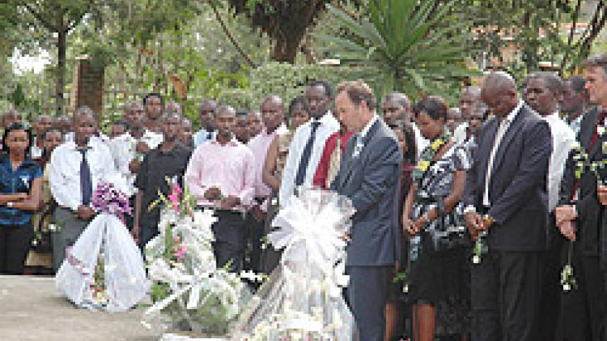 Employees of Banque Polulaire du Rwanda paying their respect to the victims of the 1994 Genocide against the Tutsi at Kigali Memorial Centre, Gisozi (Photo; F. Goodman)