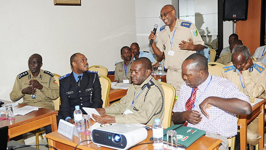 Police officers from EASBRICOM nations attending a meeting in Kigali . (Photo / J. Mbanda)