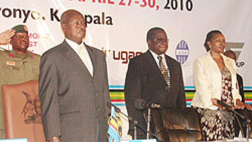 President Yoweri Museveni, Diodurus Kamara and the Chairperson of the Uganda Chamber of Commerce and Industry, Olive Kigongo at the opening ceremony yesterday.