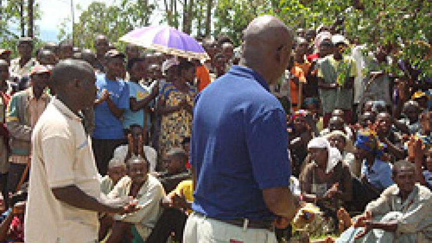 UMUGANDA at NSOBA SITE:  local residents in Bugesera were enthusiastic after being told about the forthcoming project during last saturday's Unuganda