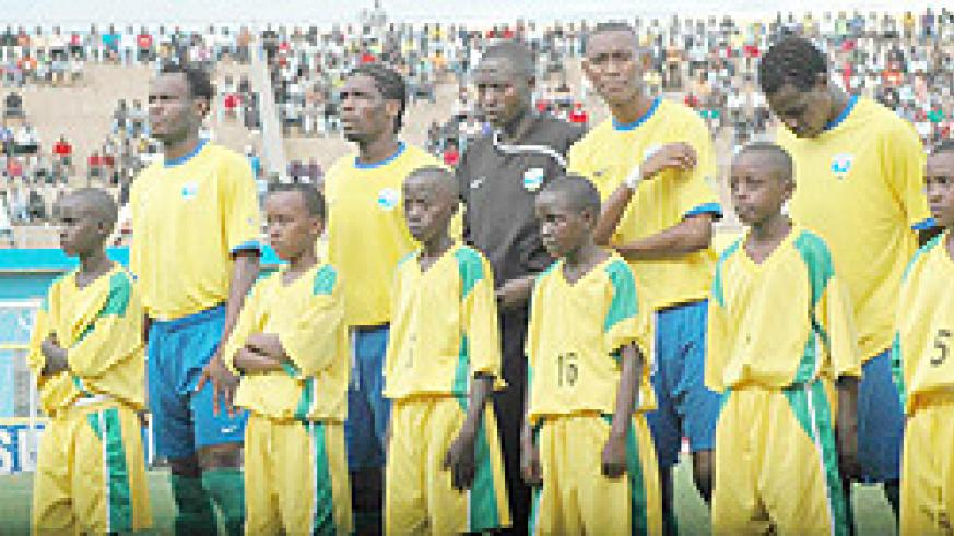 Amavubi players line up ahead of one of 2010's Africa Nations Cup qualifiers. The team is ranked 107 in the world.