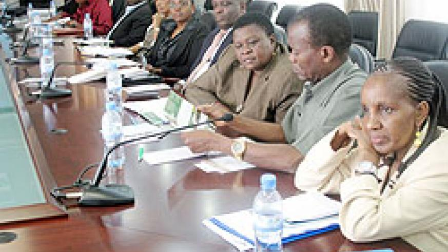 Delegation leader Bertha Semu-Somi and her team listen to Robert Masozera during their meeting at the Ministry of Foreign Affairs. (Photo: J. Karuhanga)