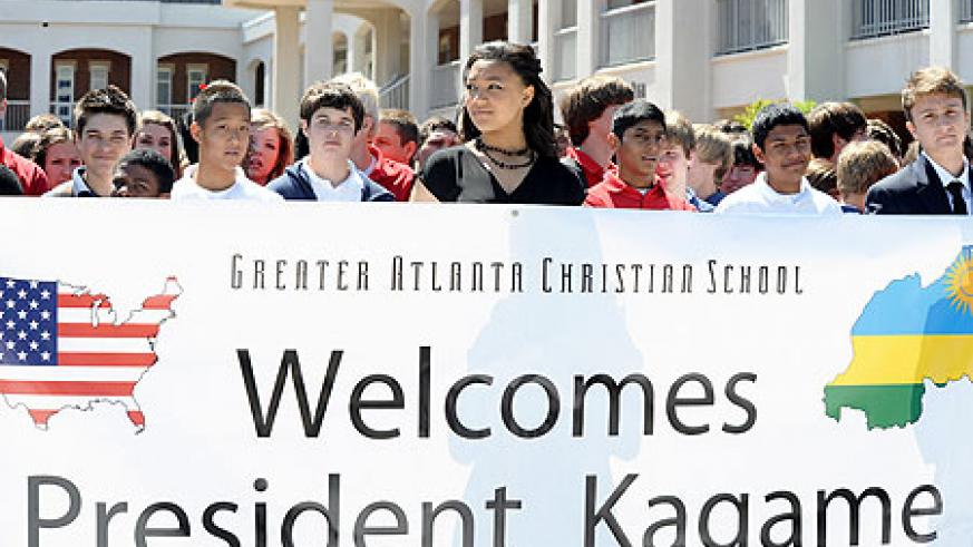 Students of Greater Atlanta Christian School welcoming President Paul Kagame at their school.(Photo by Brooke Robinson)