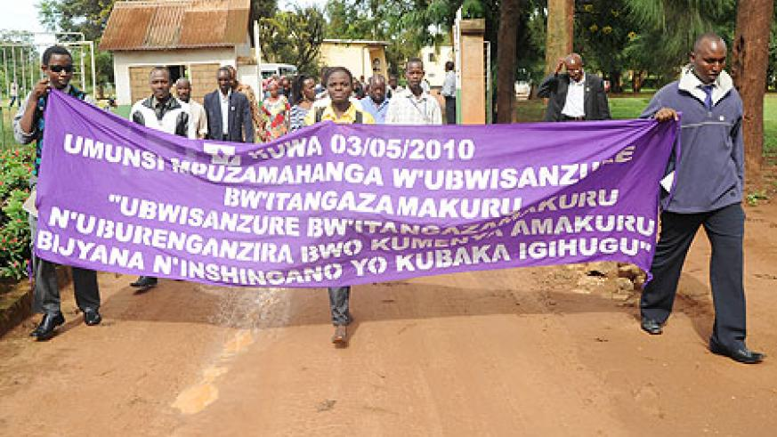 Journalists on the march. They have a debt to the Rwandan people.