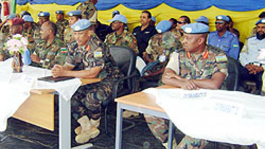 Lt. Gen. Nyamvumba (3rd from left) and Col. Murari at the function in Darfur. (Courtesy photo)