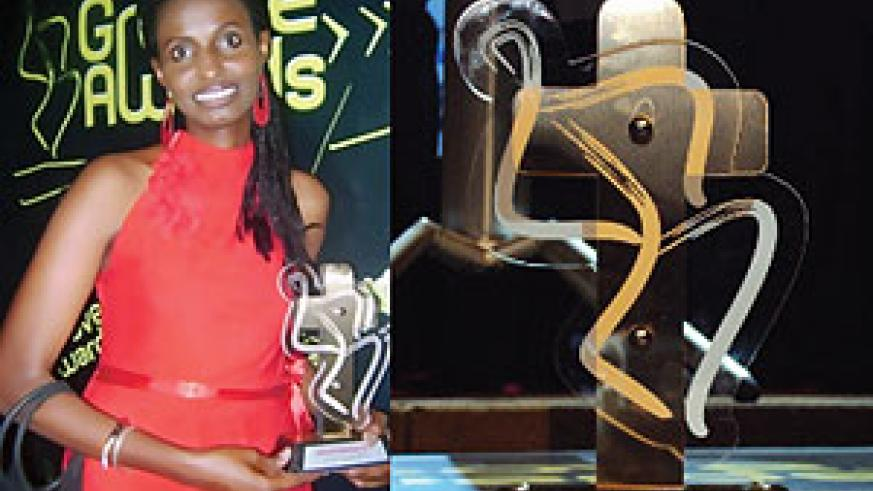 L-R : All smiles. Irene Gabby Kamanzi after accepting the award on behalf of The Sisters ; How the Groove Award with Skiza looks like.