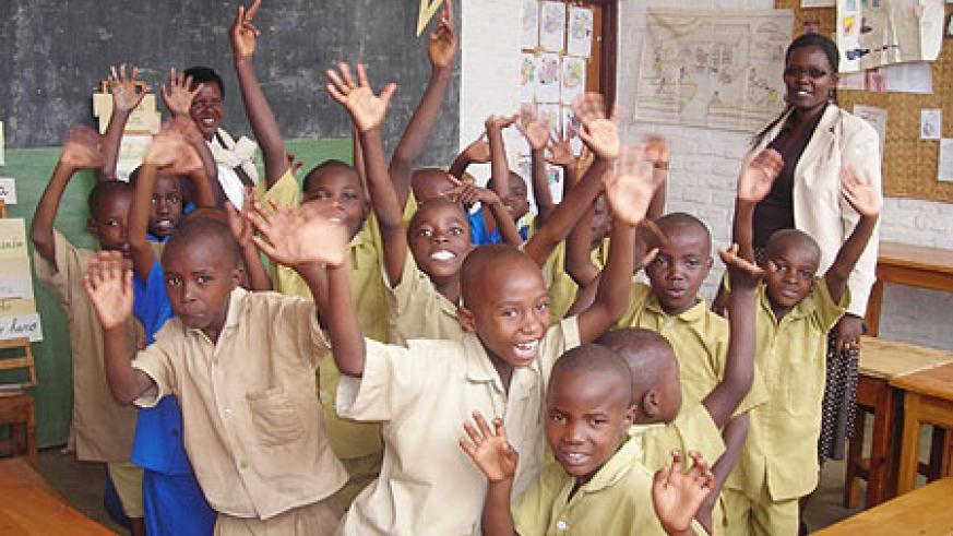 Teacher Eugenie Baziki with the enthusiastic class of the deaf and dumb (file photo)