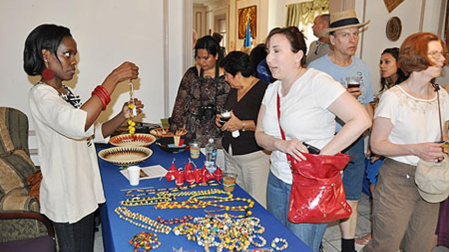 Rwandan jewelry and baskets among the popular products on display.
