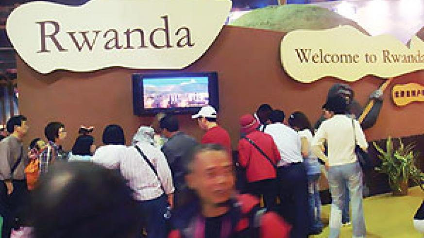 Visitors streaming in and out of Rwandan Stall at the Shanghai World Expo 2010.
