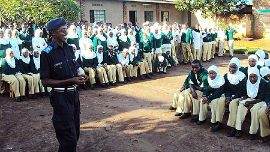 Rwamagana DPC Vincent Kamanzi addressing students during the launch. (Photo S. Rwembeho)