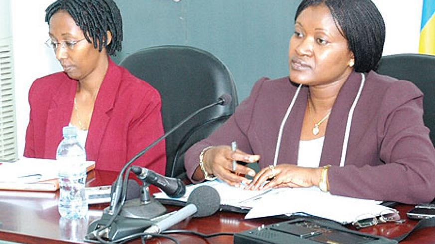 Minister  for EAC Affairs, Monique Mukaruliza (R), Minister of State infrastructure, Colette Ruhamya, briefing the media yesterday. (Photo / F. Goodman)