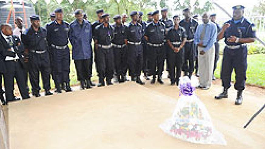 The Commissioner General of Police, Emmanuel Gasana addressing mourners at Nyamata memorial site yesterday (Photo/ J. Mbanda)