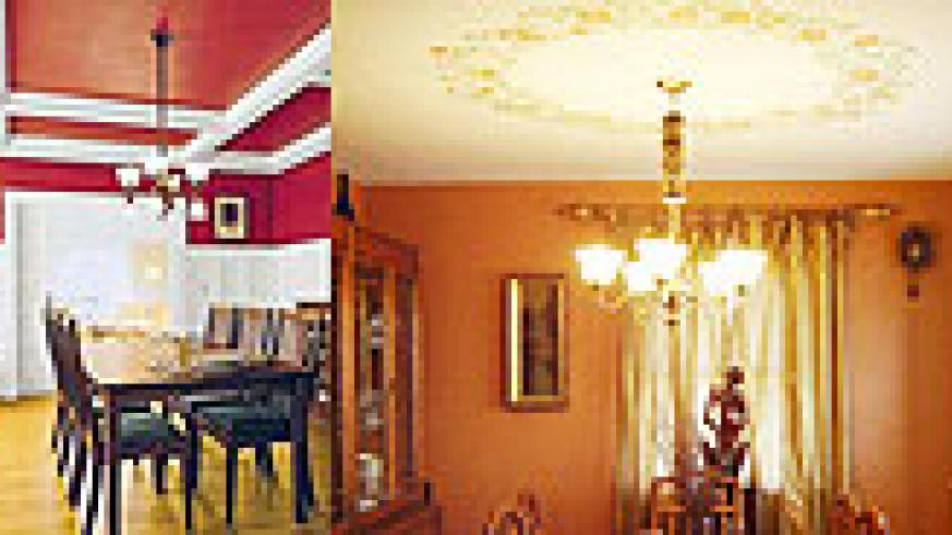 L-R : Create a cozy atmosphere with light panels ; Dark ceilings bring warmth and make a room smaller ; Enhance ceiling lighting by painting a pattern around it ; Ceiling don't have to be plain, stripes work effectively by bringing in diversity.