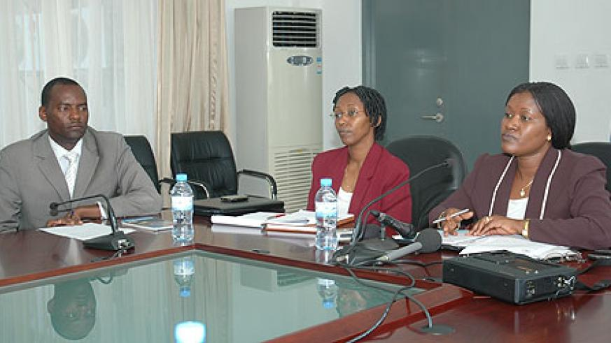 Minister Monique Mukaluriza speaks during a meeting on the East African Common Market on Tuesday (Photo F. Goodman)