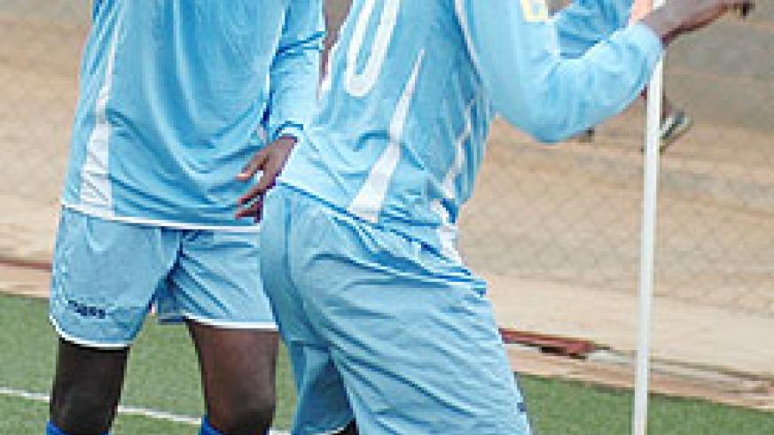 Yusuf Ndayishimiye celebrates after scoring in recent Primus league match. Yesterday, Rayon overcame SC Kiyovu 2-0 to storm the semis of this year's MTN Peace Cup. (File photo)
