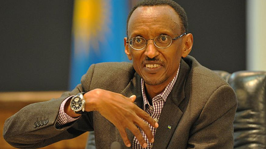 President Kagame at yesterday's press conference (Photo Urugwiro Village)