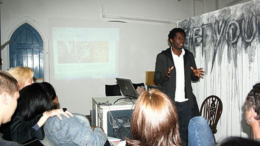 Sekajugo addressing a group of artists at Essex University, England
